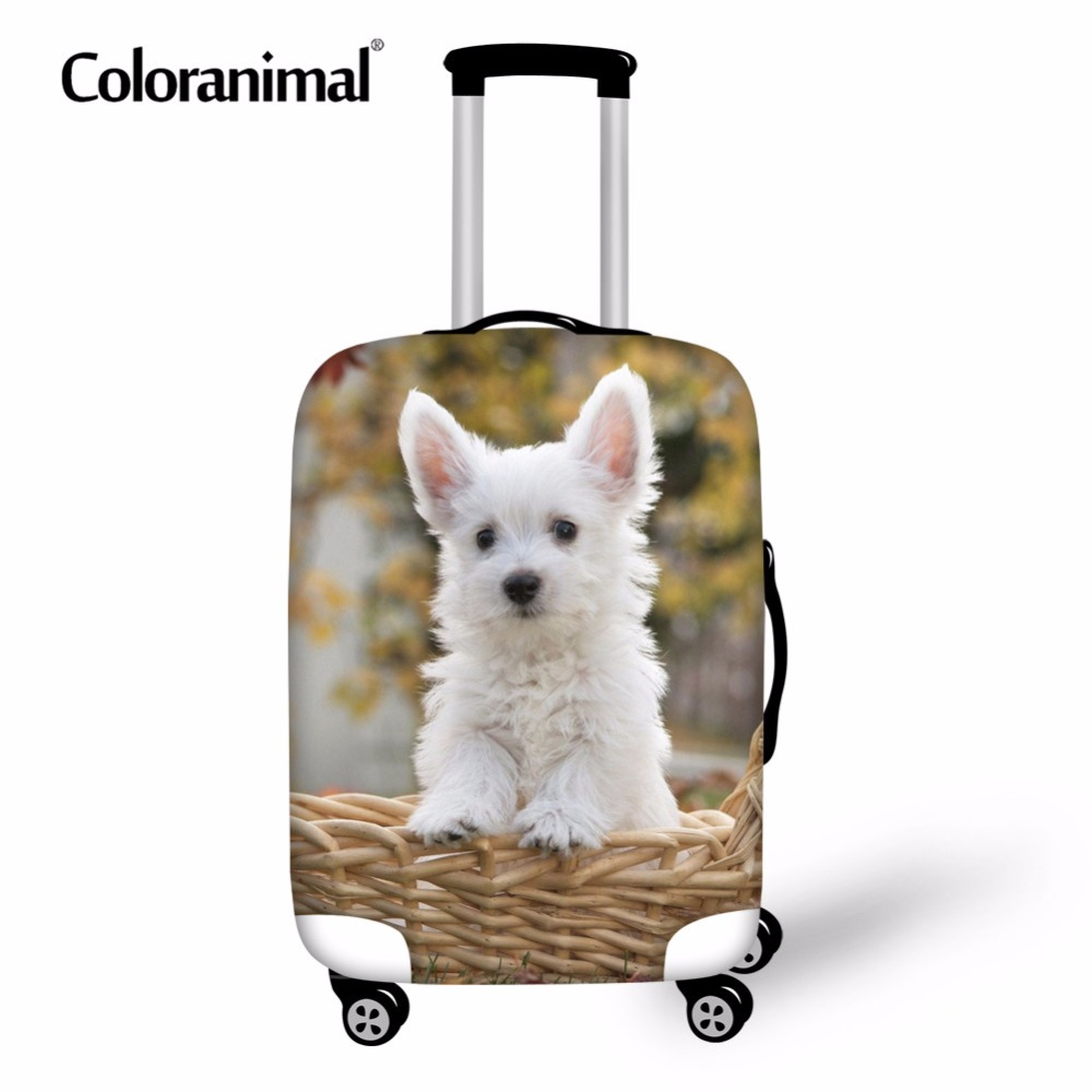 Coloranimal Cute Dog Westie Floral Pattern Suitcase Elastic Dust Case Covers Suit For 18-30 Inch Luggage Protective Cover Bags