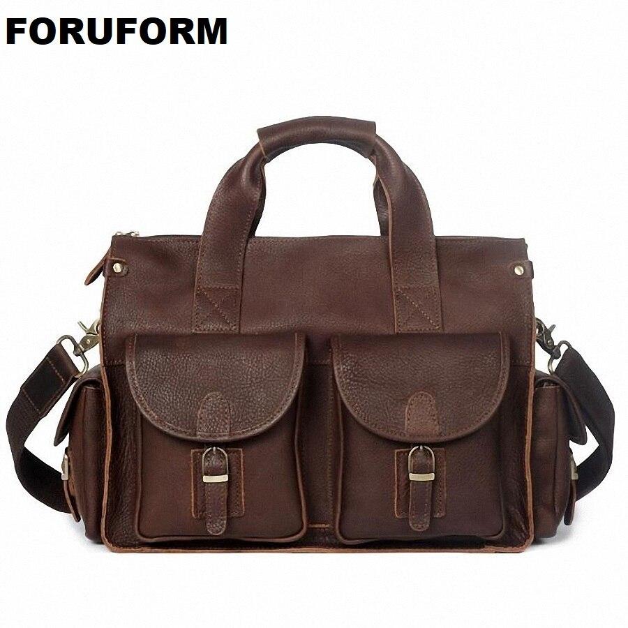 Crazy Horse Genuine Leather Men's Bag Cowskin Shoulder Bag Designer Handbags Men Messenger Bags Men Travel Bags LI-1189