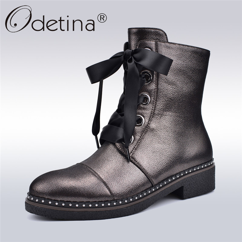 Odetina Riband Lace Up Martin Boots Women Fashion Boots Square Low Heels Side Zip Women Ankle Boots Casual Shoes Autumn Winter