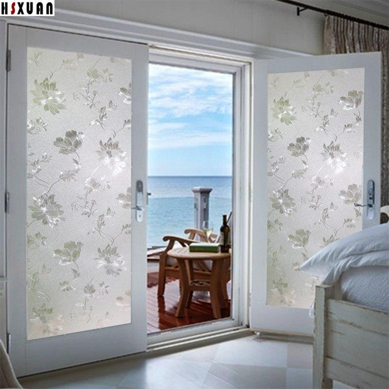 New Pvc decoratie raam Privacy films 70/80/92x100 cm bloemen @OP75