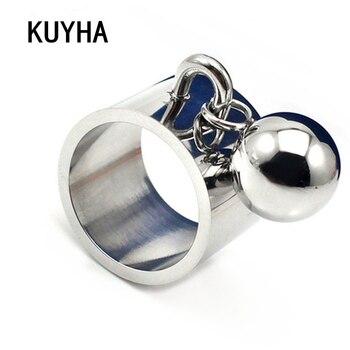 Pierścionki z zawieszką grawerowana biżuteria ze sferą okrągły wisiorek unikalna impreza Disco stalowa kulka stalowa dla kobiet