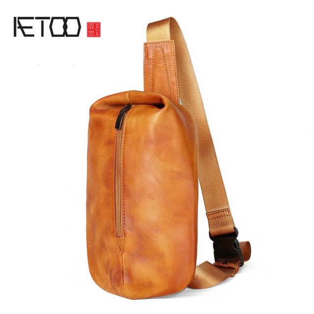 Aetoo Leather Chest Wred Tanned Men Bag Personalized Shoulder Retro Messenger Leisure
