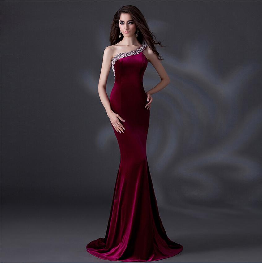 nuevo diseo de vestidos de noche elegante de un hombro largo de la sirena vestido