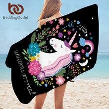 Toalla de baño de unicornio para niños, toalla de playa de microfibra impresa con dibujos animados para niña, mujer, alfombra de Picnic negra Floral 75×150 cm