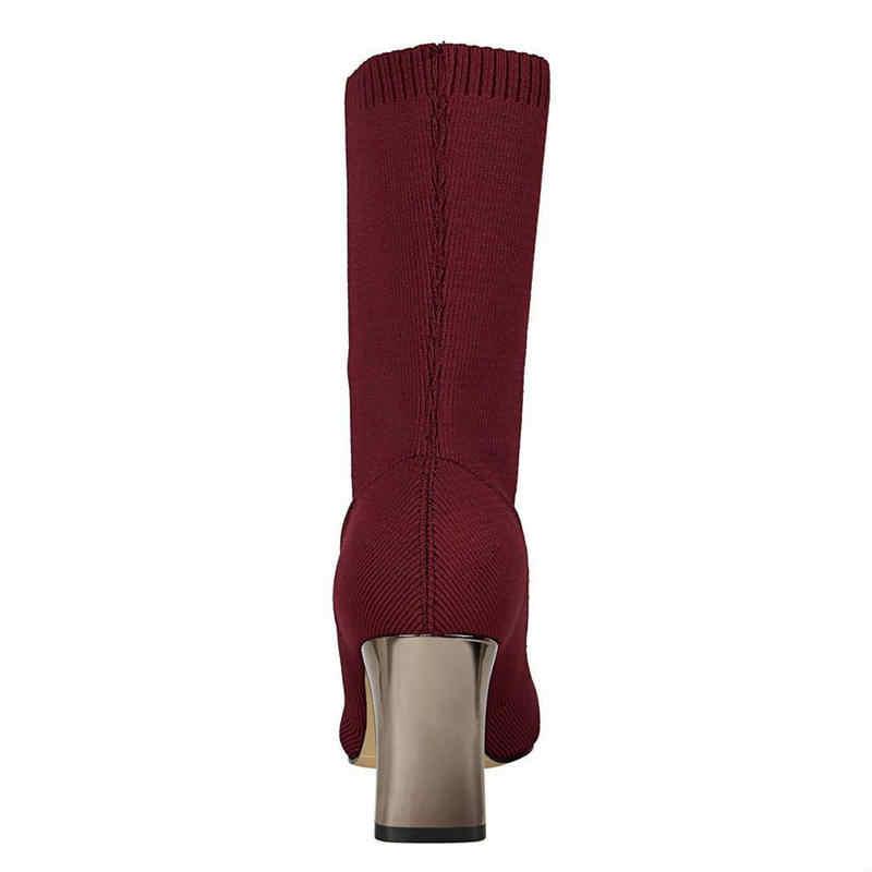 BIGTREE/женские ботинки эластичные ботильоны с острым носком обувь на высоком толстом каблуке женские осенние пикантные носки Размер 40