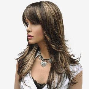 Image 3 - StrongBeauty peluca sintética para mujer, pelo largo en capas rectas, marrón con reflejos Rubio, pelucas completas