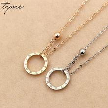 Tyme Titanium Steel Rome Numerals Circle Ball Necklace Women Gifts Rose Gold Color Necklaces & Pendants Men Trendy Jewelry