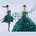 2015 Quinceanera vestido verde lindo vestido de baile Applique com destacável saia longa vestido para 15 anos 100% de alta qualidade