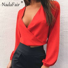 Nadafair Completo Manga V Neck Backless Bow Curto Chiffon Blusa Mulheres Sexy Clube Do Partido Camisas