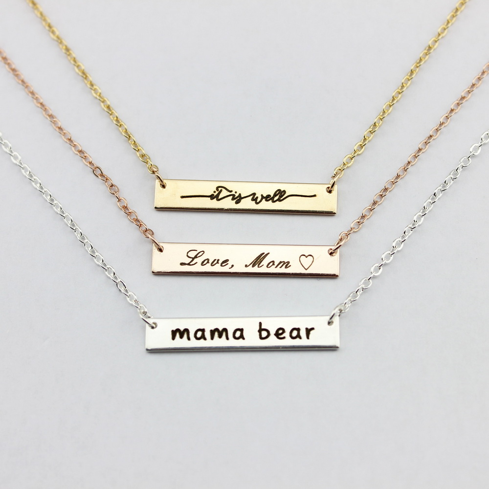 aliexpress com   buy personalized engraved mama bear necklaces bar pendant necklaces for women
