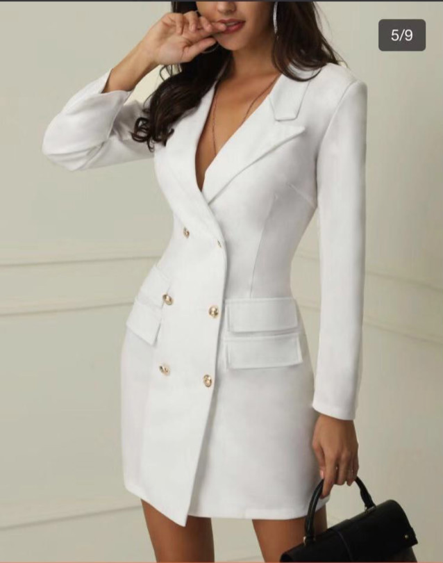 Black   trench   womens White dresses Double Breasted Slim Was Thin   Trench   Coat Foreign Trade Hot Selling Supply   Trench   Coat