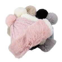 Женская теплая вязаная шапка, женские зимние бархатные шапки, мягкие удобные украшение с помпонами, утолщенная вязаная шапка, Повседневная шапка Skullies