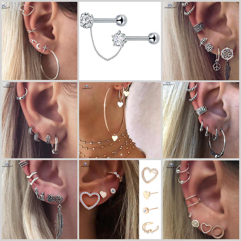 1 set/order Star Bijoux Leaf Moon Ear Piercing Helix Piercing Tragus Piercing Oreja Fake Nose Ring Stud Ear Cuff Earring Jewelry