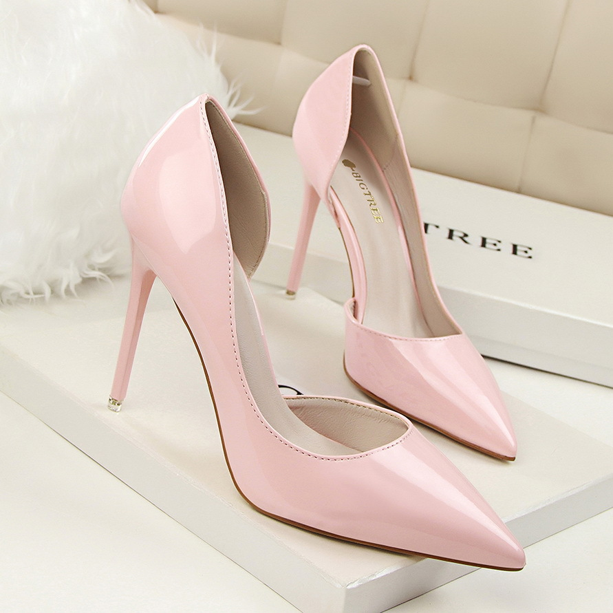 New Summer Women Pumps Fashion Patent Leather Pointed High Heel Shoes Shallow Pointed Sexy Thin High-heeled Shoes OL G638-5 2017 new summer women flock party pumps high heeled shoes thin heel fashion pointed toe high quality mature low uppers yc268