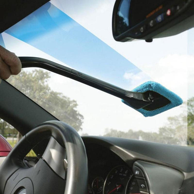 Car Window Cleaner Long Handle Car Wash Brush Dust Car Care Windshield Shine Cloth Clean Tools Washable Shine Handy Brush Tool
