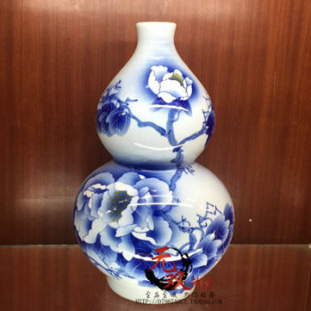 Package mail jingdezhen chinaware bottle gourd peony famous Wu Wenhan hand-painted blue and white porcelain vase