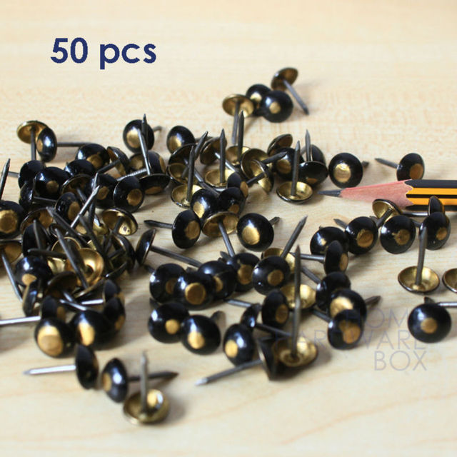 50 unids clavo decorativo para muebles cobre cuero negro ronda Rivet ...