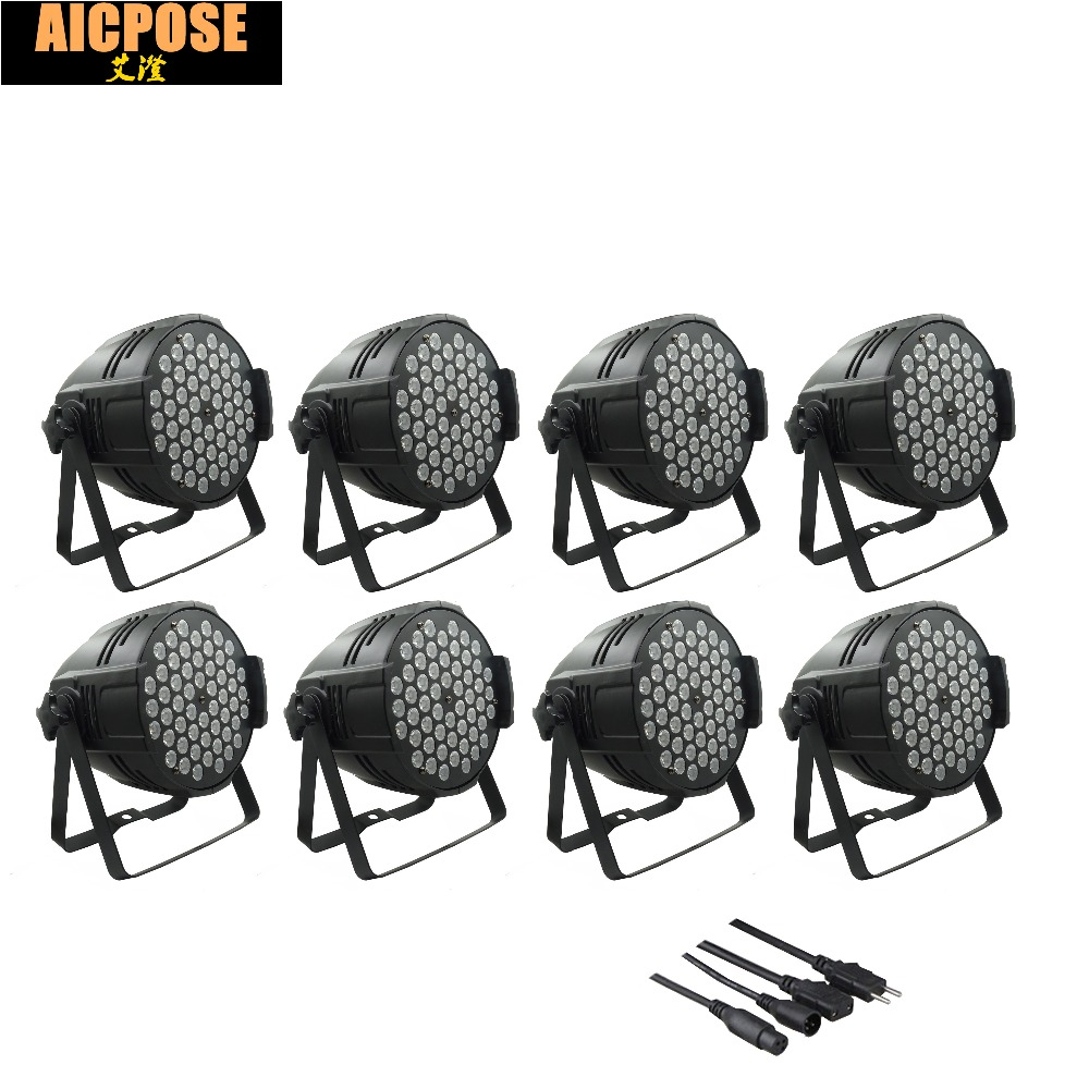 8pcs/lots 54x3w led Par lights RGBW flat par led dmx512 disco lights LED Stage Par Light Wash Dimming Strobe Lighting Effect niugul led par light rgbw 54x3w stage light ktv dj disco lighting dmx512 strobe party wedding event holiday lights wash effect