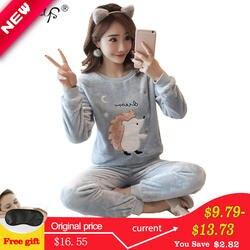 Осень-зима Для женщин Пижамные комплекты пижамы костюм толстые теплые коралловые фланелевая Ночная рубашка Женский мультфильм пижамы с