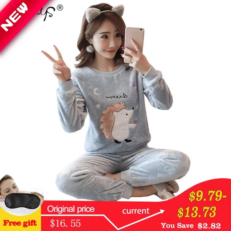 Autumn Winter Women Pyjamas Sets Pajamas Sleepwear Suit Thick Warm Coral Flannel Nightgown Female Cartoon Animal Pijama Mujer