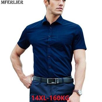 summer larger plus big size 9XL 7XL shirts men 8XL 10XL 14XL work Business Pink short sleeve Dress shirts wedding 11XL 12XL 13XL