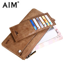 AIM 2017 NEW Men Luxury Multi-function Cow Leather Wallets Famous Brand Designer Male Casual ID Card Coin Case Debit Card Holder