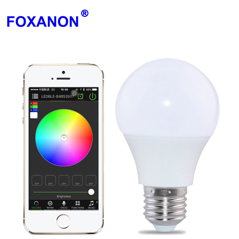 Foxanon Bluetooth 4 0 E27 Light Bulb 4 5W RGBW AC85 265V led lampada smart Soptlight