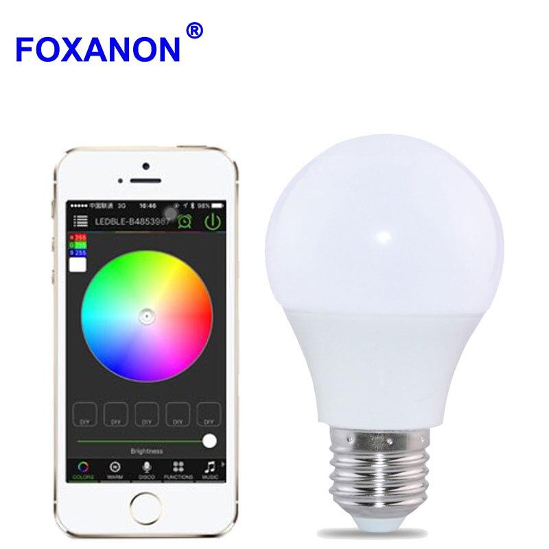Foxanon Bluetooth 4.0 E27 ampoule 4.5 W RGBW AC85-265V led lampada smart Soptlight lampe changement de couleur pour l'économie d'énergie à la maison