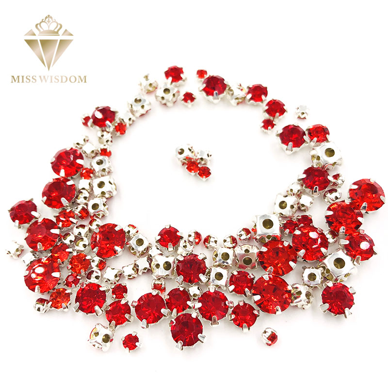 Free Shipping Hot Sale Strass 100pcs/pack Mixed Size Red Glass Crystal Sliver Base Sew On Rhinestones Diy Clothing Accessories