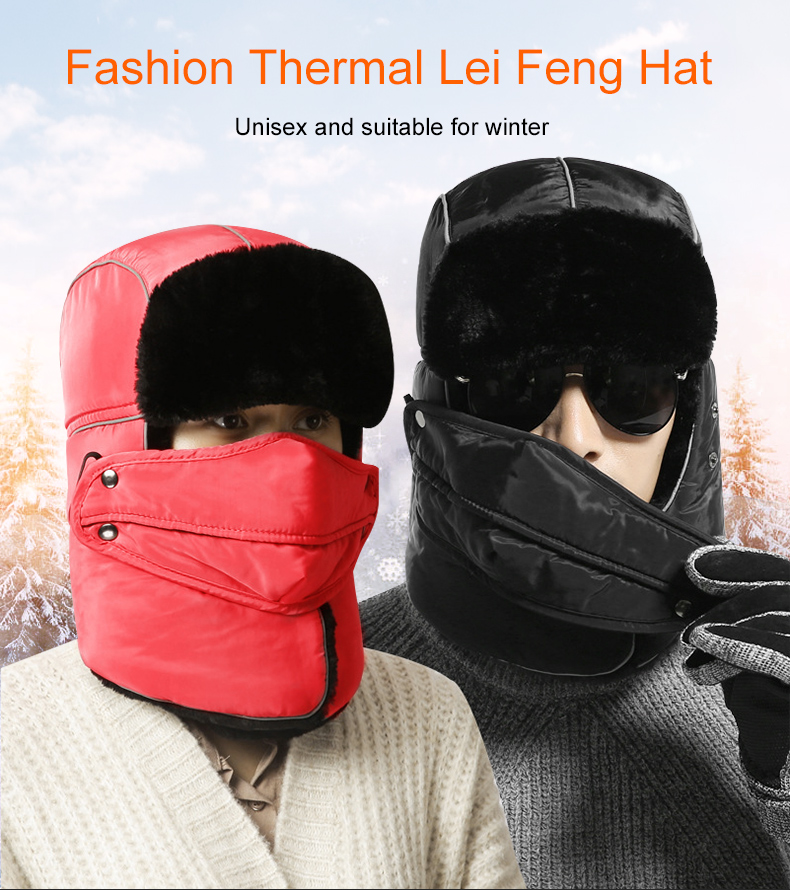2019 KUTOOK Winter Thermal Bike Mask Reflective Russian Hat With ... ef3e0fa2325e