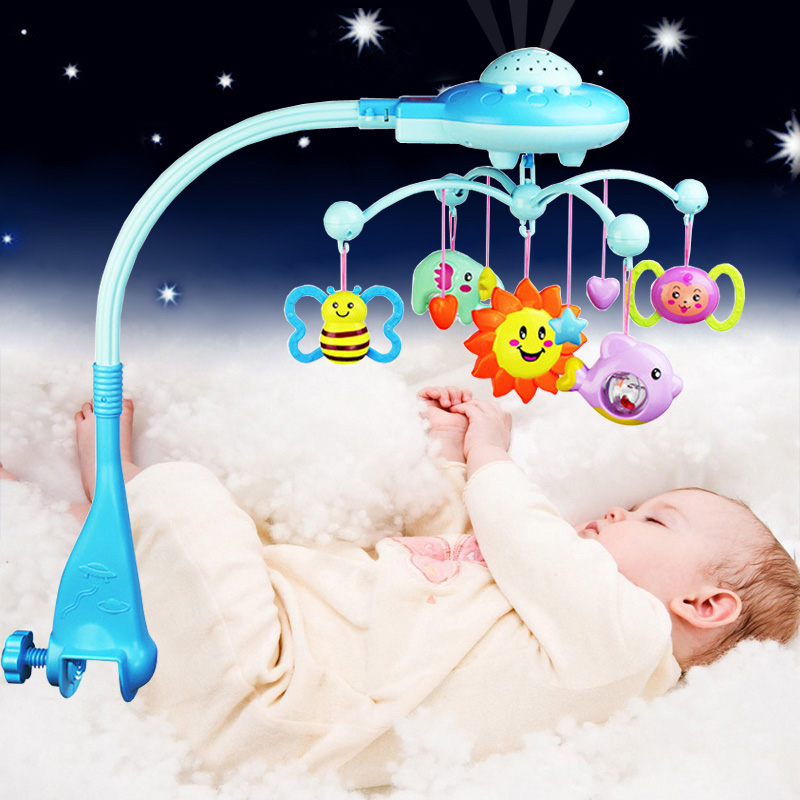 New Mobiles Baby Rattle With Projection Stars Rotating Music Newborn Bed Bell Children s Toys For