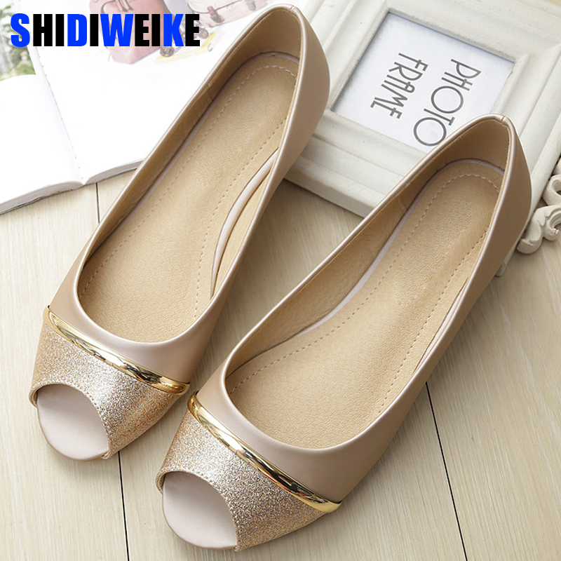 Fashion Women Flats Peep Toe Flats Comfortable PU Leather Pink Gold White Shoes Woman Size 34-43 M954