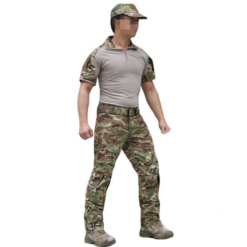 TAK YIYING Outdoor Tactical Uniform Camouflage Suit Men Army Short Combat Shirt &Cargo Pants Paintball Hunting Clothes Set black hunting clothes military uniforms mens hunting clothing tactical combat shirt cargo pants outdoor army ghillie suit men
