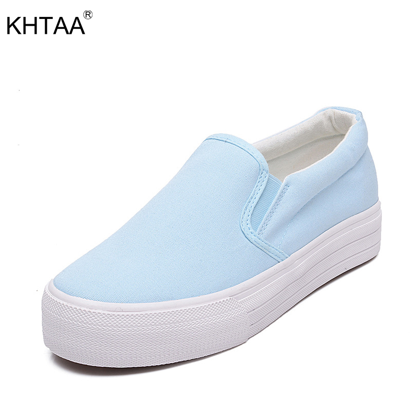 KHTAA Women Flats Canvas Platform Elastic Band Slip On Loafers Increasing Heel Female Shoes For Ladies Footwear Vulcanized shoes women s platform flats loafers genuine leather slip on brogues shoes for women female footwear brand designer moccasins calzados