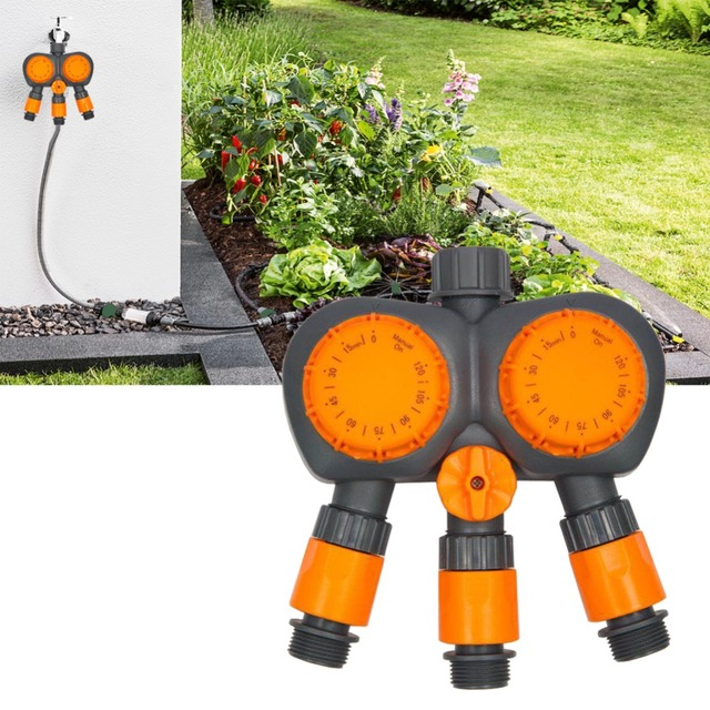 Automatic Machine Water Timer Irrigation Controller System Timer Garden Watering Timer Home 3 Port 2 Head 120 Minutes Water Flow