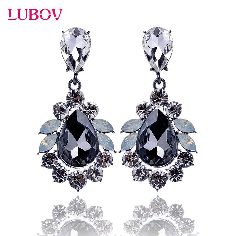 LUBOV Luxury Statement Big Crystal Stone Pendant Drop s