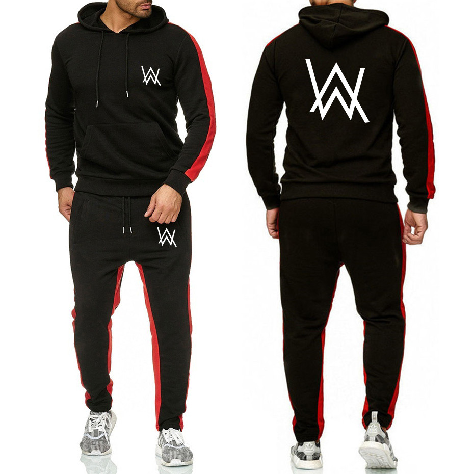 2019 The New Brand Tracksuit Fashion Men Sportswear 2 Piece Sets All Cotton Fleece Thick Alan Walker Hoodie+Pants Sporting Suits