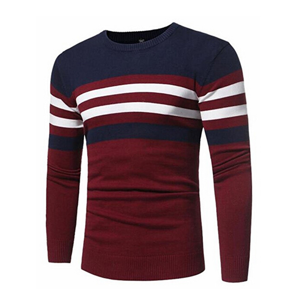 Gresanhevic New Mens Crewneck Long Sleeve Stripe Color Block Knit Sweater Pullovers