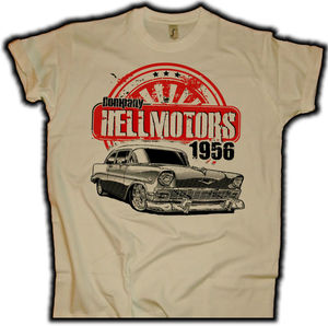 Image 1 - 패션 남자 T 셔츠 무료 배송 시보레 56 모래 미국 근육 자동차 Herren T 셔츠 V8 핫로드 드래그 레이스 Oldschool 여름 T 셔츠