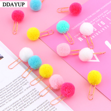 10Pcs/set Cute Hairball Rose Gold Cilp Modelling Paper Clip Fashion Business Office Lady Style Stationery Set
