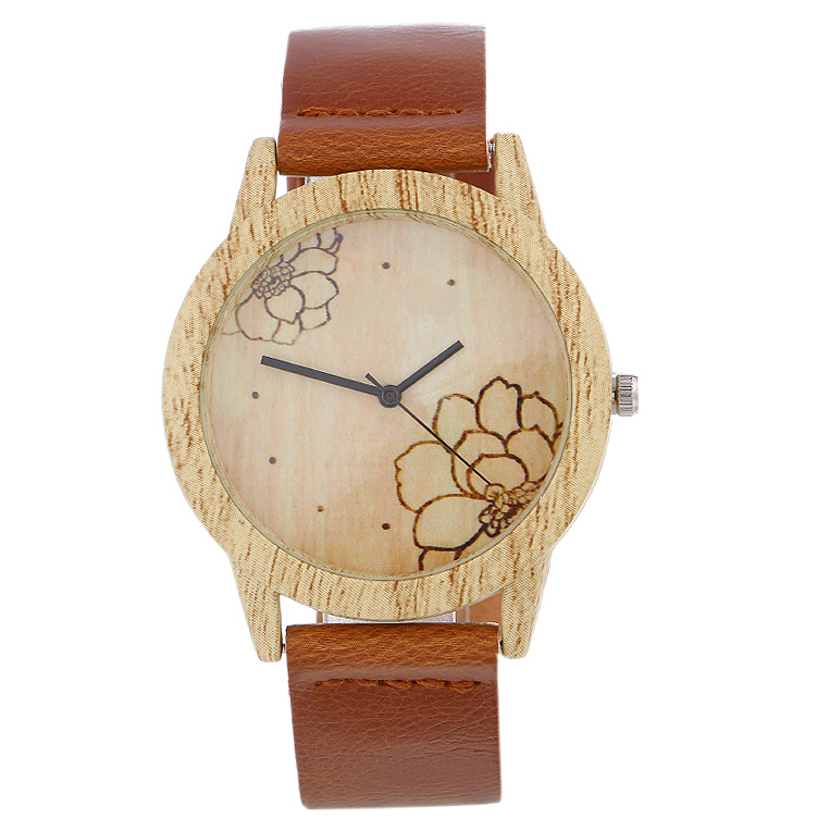 2020 New Coming Creative Flower Wooden Watches Leather Women Wristwatch Fashion Wood Ladies Watch Men Women Gift Reloj De Madera