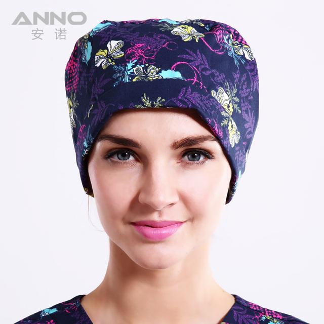 Azul Florals sombrero médico con mujer/mal Calabaza cap scrub sombreros sombreros unisex adecuado para el pelo largo/corto Hospital de algodón beani