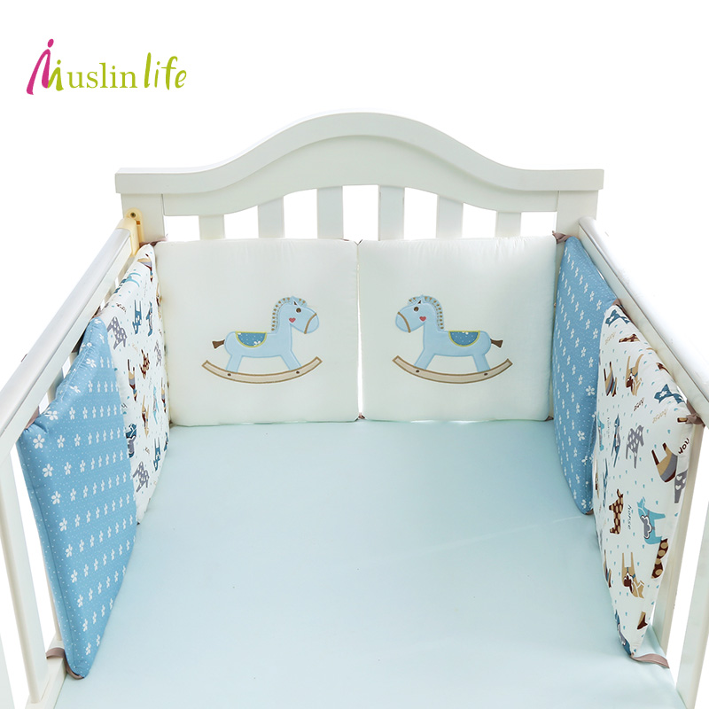Muslinlife Cotton Baby Bumpers,soft And Safe Baby Crib Bed Protection Wtih Filling Bumpers Available For 6pcs,12pcs Selling Well All Over The World Baby Bedding