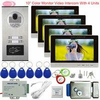 Video Intercom For 2 6 Apartments 10 Color Doorphone Video Intercom Video Door With Electronic Door Lock door bell System Unit