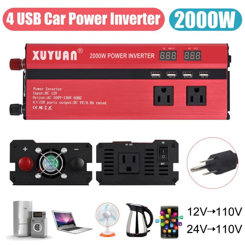 2000W 4 USB LED Car <font><b>Power</b></font> <font><b>Inverter</b></font> DC 12V/24V To AC 110V Charger Converter image