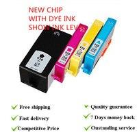1 conjunto de tinta mostrar nível usando o novo chip cartuchos de tinta corante terno para hp 920xl terno para hp impressoras