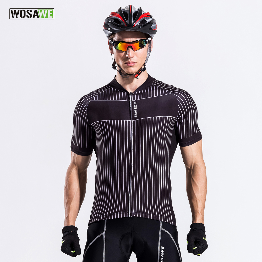 WOSAWE Men's Summer Cycling Jersey Short Sleeve MTB Bike Jersey Bicycle Printing Shirt Sportswear Ciclismo Clothing