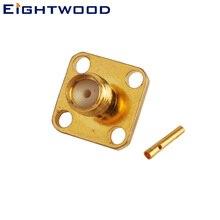 Eightwood 5 шт. РЧ коаксиальный разъем SMA женский Панель крепление с 4 дырочками припоя адаптер для Полужесткий 141 ''RG402 кабель
