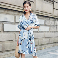 DoreenBow New Summer Style Dress HIGH QUALITY Notched Neck Flower Printed With Belt Fahion Vintage Dress