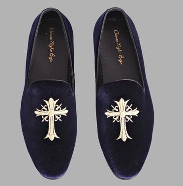 28969021222 navy mens albert slippers fashion velvet loafers size 6-9 free shipping